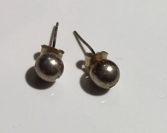 Sterling Silver Studs Earring...1970s... Vintage Earrings...Ethnic...Hippy...Gypsy...Studs