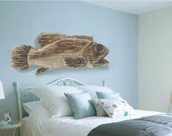 "Driftwood Beach Décor 31 "" Fish 2d sculpture by SEASTYLE"