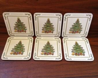 Vintage Pimpernel Christmas Tree Coasters  ~ Boxed Set of 6