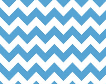 Riley Blake Chevron Medium Blue Flannel Fabric, 1 yard