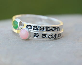 STACKABLE BIRTHSTONE RING - Name Ring - Mothers Ring - Stamped Kids Name Ring - Hand Stamped Ring - Hand Stamped Birthstone Stacking Ring