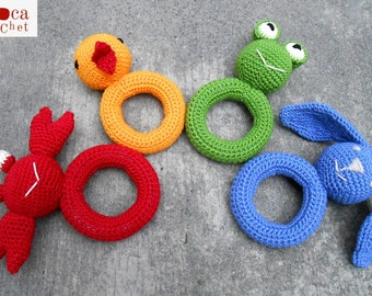 Pattern 4 baby animal rings Amigurumi toy. By Caloca Crochet.