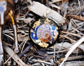Ammonite Orgone Pendant/Orgone Jewelry: Quartz, Ammonite, Quartz, 24K Gold,Shungite, Black Tourmaline