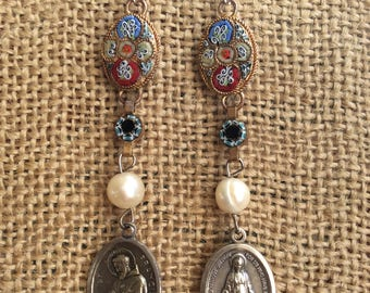 Vintage Assemblage Earrings with Italian Mosaic and Religious Medal