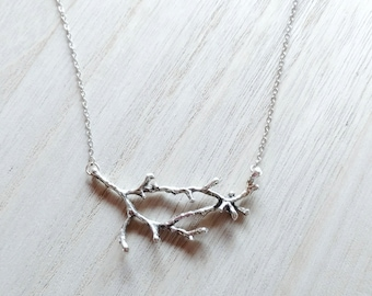Silver Branch Necklace. Horizontal Tree Branch, Tree Branch Necklace