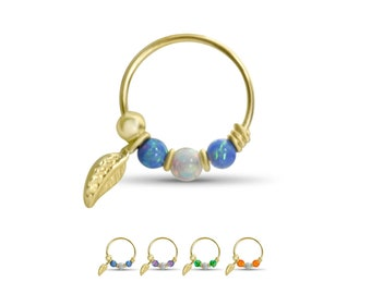"""10KT Gold Nose Ring Hoop Fixed Faux Opal Beads Feather Dangle 5/16"""" 22G"""