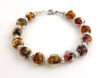 Brown and Orange Glass Beaded Lampwork Bracelet, Lampwork Bracelet, Mother's Day,Gifts, Career Wear, Fashion Jewelry