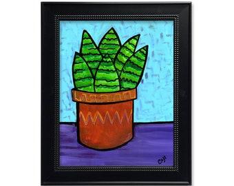 Haworthia Print - Succulent Art Print - 5x7 8x10 11x14 with optional black mat - Still Life Wall Art Decor