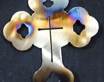 Cross, Metal Cross, Church Art, Cross Art, Inspirational Art, Christening Gift, Christmas Ornament, Christmas Decor, Christmas Gift, Decor
