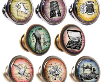 Vintage Sewing Decorated Zinc Alloy 30mm Drawer Cupboard Cabinet Knobs