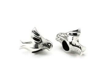 925 sterling silver bead big hole bird PS0612BK P0131