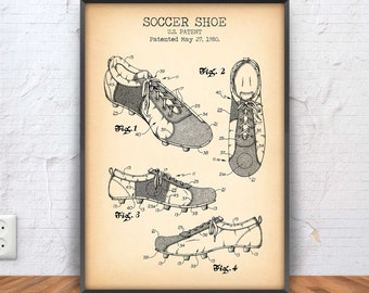 SOCCER SHOE poster, soccer patent, soccer blueprint, soccer illustration, soccer decor, soccer shoes, cleats, coach, player, #1011