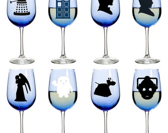 18.5oz Blue Wine Glass | Doctor Who