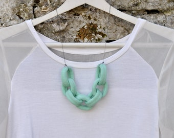 Large Knitted Chain Link Necklace - Mint