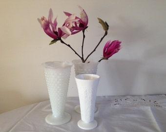 Vintage   Fenton  Milk glass vases / set of 3    Vintage Wedding