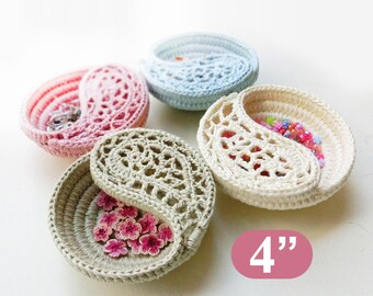 "Mother's day gift, crochet pattern 4"" yin yang jewelry dish, ring dish. Crochet basket pattern. photo tutorial, Instant download."