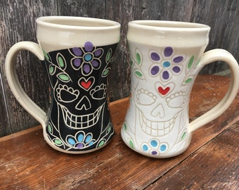 Large Sugar Skull Mug Set / His & Hers / Dia De Los Muertos / Day of the Dead / 20 oz. each / Set of 2 mugs