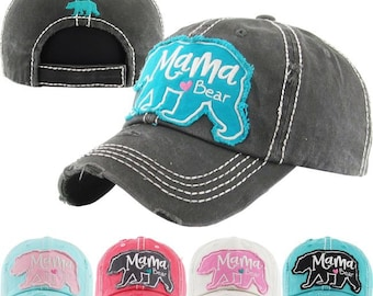 Mama Bear Floral embroidered women's baseball cap, Southern, preppy baseball hat, Southern Summer Hat