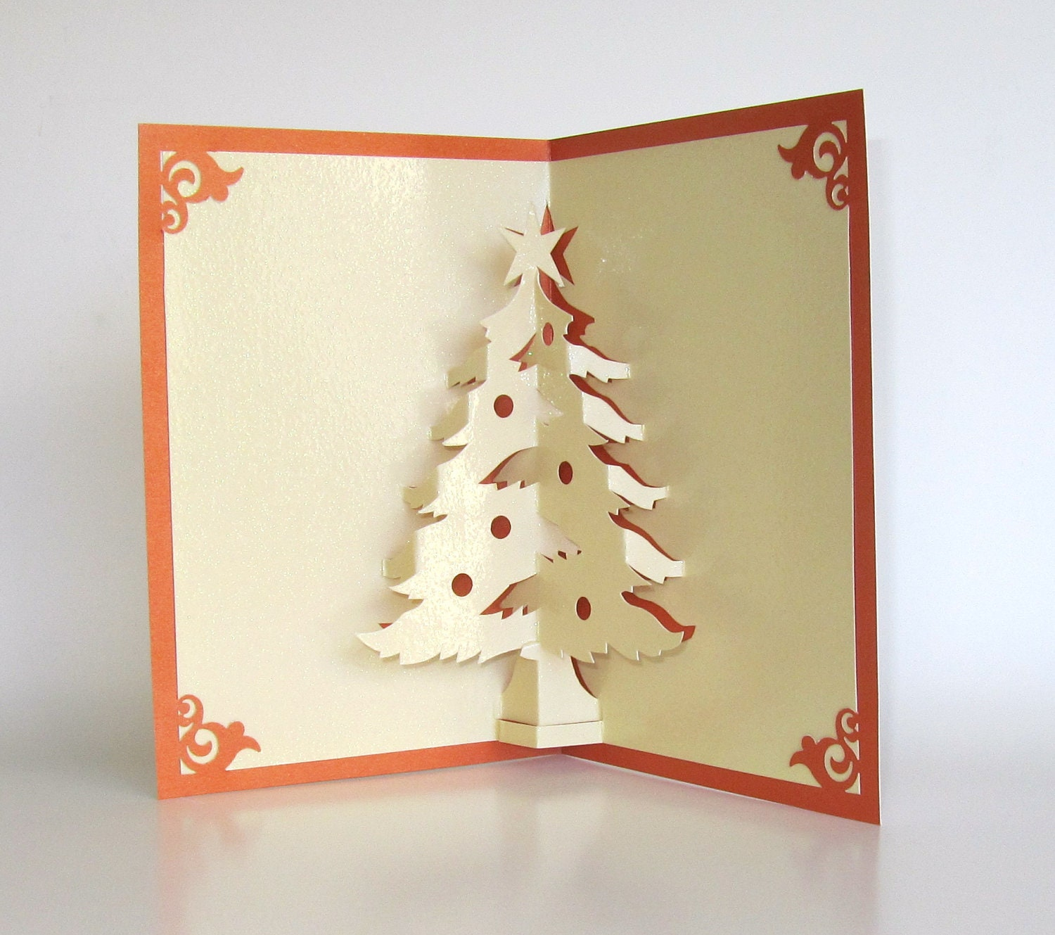 Christmas tree pop up up greeting card home dcor 3d handmade zoom kristyandbryce Image collections