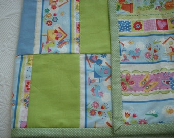 100% Cotton Patchwork Baby Quilt/Reversible/FREE SHIPPING