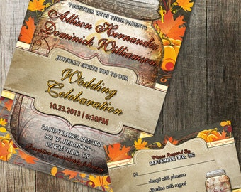 Rustic Mason Jar Wedding Invitation and RSVP Printable Invitation Rustic Wood Elements Fall Leaves pumpkins country wedding