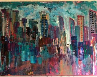 Original City scape No. 911-on canvas