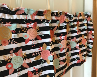 Black and White stripe coral and gold flower Curtain Valance