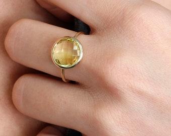Lemon Quartz Ring, Lemon Quartz Gold Ring, Natural Gemstone Ring, 14K Solid Gold Ring, Solitaire Gold Ring, Yellow Stone Ring, GR0230