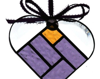 Gold a & Purple Majesty Stained Glass Heart