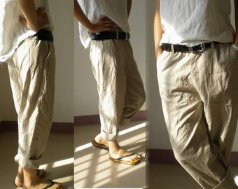 028---Slightly Tapered Boyfriend French Linen pants (Excluding the belt), Relaxed, Slouchy Fit , Loose Linen Pants / Women Linen Trousers.