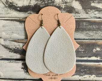 Taupe Shimmer Leather Teardrop Earrings - Handmade Earrings - Leather Earrings - Lightweight Earrings