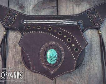 TURQUOISE: Leather Utility Belt - Festival Belt with TURQUOISE Stone by Sibo Yanke. Handmade.