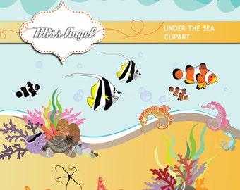 Under the Sea Clipart. Clown fishes, tropical fish, corals, aquatic plants, seastars, seahorse. 18 Digital Illustrations. MissAngelClipArt