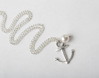 Silver anchor necklace, bridesmaid necklace, anchor jewelry, anchor and white pearl necklace, nautical beach wedding, sterling silver chain
