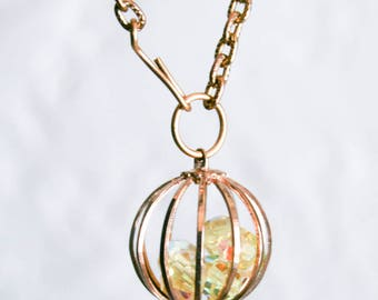 Yellow AB Crystal Cage Necklace