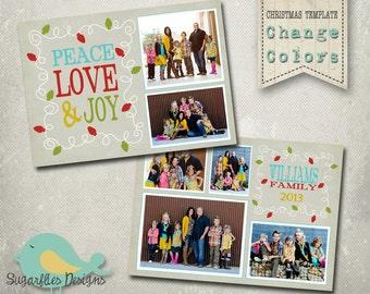 Christmas Card PHOTOSHOP TEMPLATE - Family Christmas Card 101