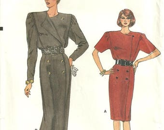 Vogue 9734 Very Easy Misses Vintage Double Breasted Dress Sewing Pattern Size 8 - 10 - 12