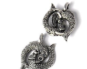 2pc, Pisces Zodiac Antique Silver Charm, Pewter