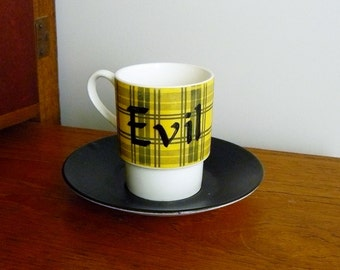 Evil hand painted mid century vintage china espresso coffee cup and saucer set recycled humor wicked tartan cuppa