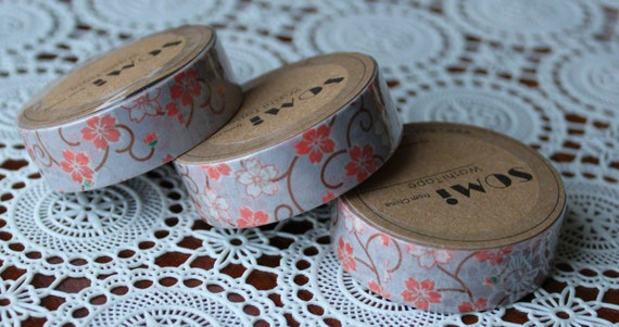 Scrapbook Supplies- 1 roll. Washi Tape. Flower Swirls - Little Laser Lab