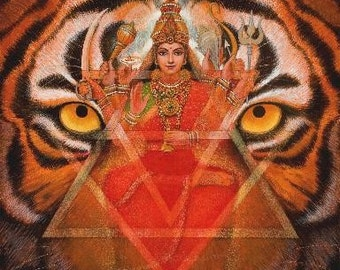 Hindu Goddess DURGA TIGER meditation spiritual art print poster of painting by Sue Halstenberg