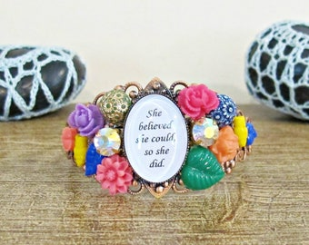 She Believed She Could Cuff Bangle - Inspirational Bracelet Vintage Flower Copper - Multicoloured Green Yellow Orange Pink Purple
