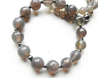 Agate bracelet Genuine stones 10 mm Hematite seeds Original jewelry Stretch bracelet Gray jewelry Magic jewelry Available set Gift for her