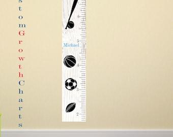 Sports nursery Growth Chart boys decor custom color with name soccer