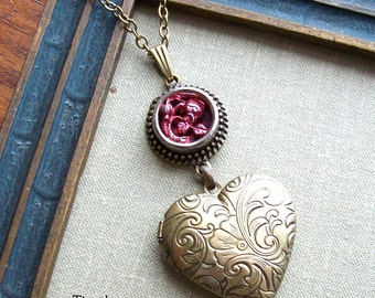 Heart Locket Necklace, Antique Button, Red Rose, Picture Button, Victorian, Valentine, Love, Timeless Trinkets