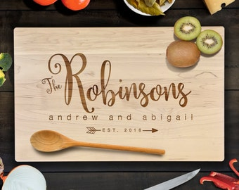 Family Name in Script with Customized Names and Date Wedding, Anniversary Cutting Board Gift Laser Engraved CB00062