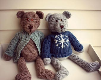 "Download Now - CROCHET PATTERN Dressed Up Bears - 19"" Teddy Bears and Outfits - Pattern PDF"
