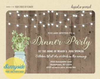 Rustic dinner party invitation, cocktail party invite with twinkle lights & barnwood, herbs in mason jar, printable or printed