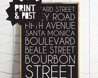 subway art, subway print, subway poster, street names, street decor, street print, street poster, print and post