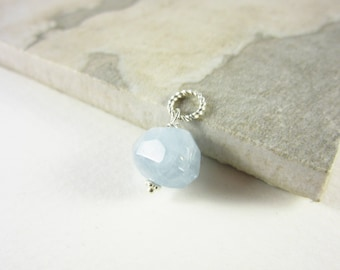 S- Genuine Aquamarine Jewelry - March Birthstone Charm - Mothers Birthstone Jewelry - Sterling Silver Charm - Healing Crystals and Stones